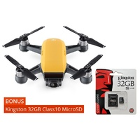 DJI Spark Mini Drone Sunrise Yellow + Kingston 32GB Class10 MicroSD Card