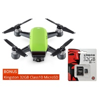DJI Spark Mini Drone Meadow Green + Kingston 32GB Class10 MicroSD Card