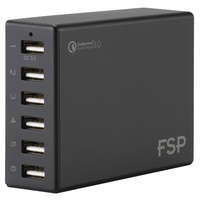 FSP Amport 62 6 ports USB 62W QC 3.0 Black Quick Charger