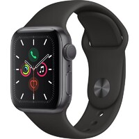 Apple Watch Series 5 GPS 44mm - Space Grey Aluminium case with Black sports band,watchOS 6,Electrical and optical heart sensor,32GB capacity