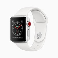 Apple Watch Series 3 GPS + Cellular 38mm - Silver Aluminium case with White sports band,Optical heart sensor,16GB capacity,watchOS 6